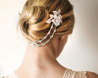 Boho Bridal Hair Chain Pearl Wedding Hair Wrap by LottieDaDesigns