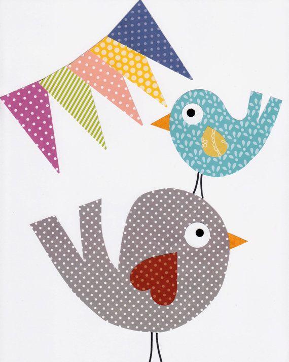 Bird Nursery Artwork Print // Baby Room by 3000yardsofthread, $14.00