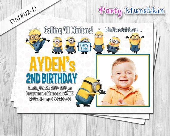 Minion photo invitation, Despicable Me photo invite, Minions card for Despicable Me birthday party - DIY Printable