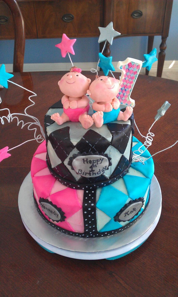 sweet cake for twins first birthday!  Cakes  Pinterest