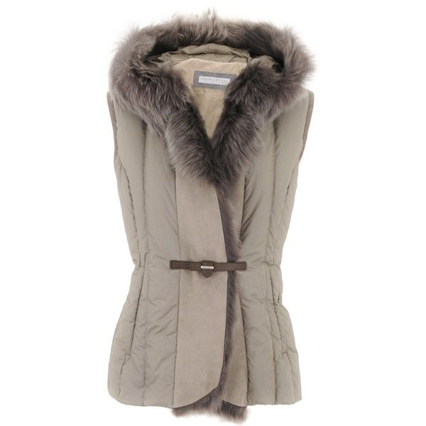 Fabiana Filippi Taupe Fur Collar Vest (26 490 UAH) ❤ liked on Polyvore featuring outerwear, vests, brown waistcoat, vest waistcoat and brown vest