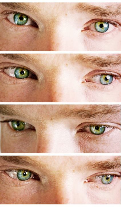 The eyes have it. The beauty of heterochromia. Benedict Cumberbatch has a rare condition where one eye is colored slightly differently. Note the vivid brown spot above the pupil of his right eye. It's not in the left. In BBC Sherlock it's most noticeable in a scene from The Hounds of Baskerville (looking searchingly into the microscope).