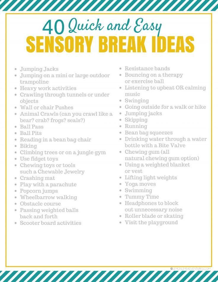 40 Simple Sensory Break Ideas