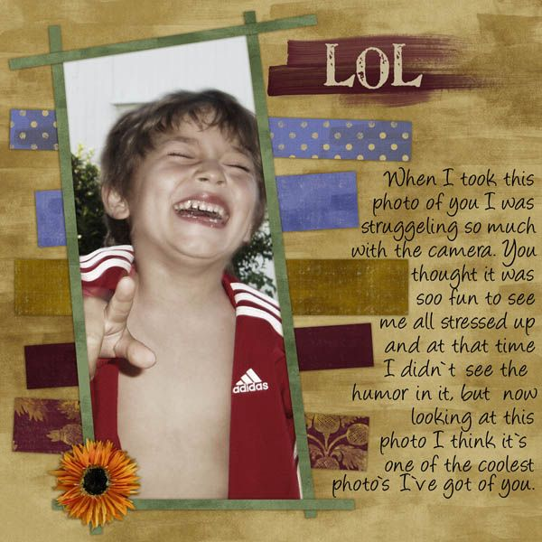 LOL. Here I used Gaelic Whispers Kit by Genevieve Sass and Smile template by Jill Donoho