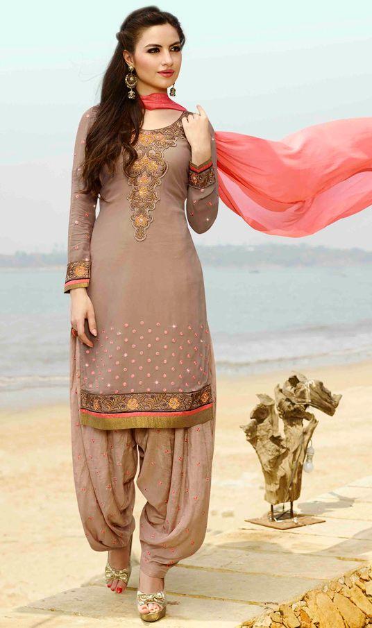 USD 35.77 Beige Georgette Punjabi Suit 48036