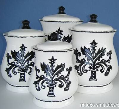Ceramic kitchen canister sets new contemporary ceramic black white canister set kitchen - White ceramic canisters for the kitchen ...