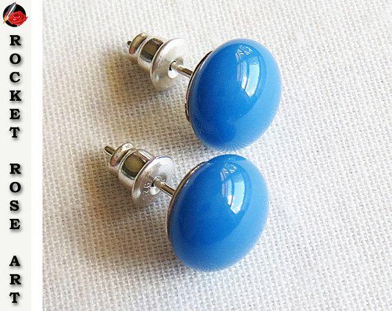 Egyptian Blue Stud Earrings Sterling Silver 9mm 10mm Fused