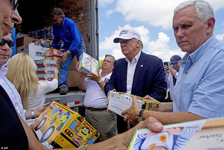 Donald Trump showed off his softer side Friday as he consoled Louisiana homeowners hit by devastating flooding. He's seen here unloading supplies for victims off a truck