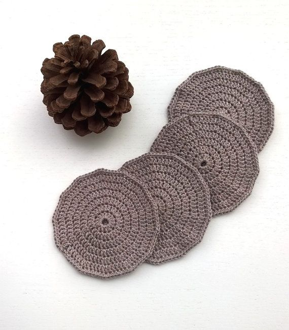 Coasters Crochet Coasters Drink Coasters by AGirlNamedMariaDK #coasters #coaster #crochet #crocheted #drink #drinks #beverage #tableware #drinkware #tablesetting #party #entertaining #glass #mug #cup #tea #coffee #dinner #table #guests #decorating #home #decor #summer #spring #brown #wood #beige #sand #glitter #sparkles #shimmer #sparkly #festive
