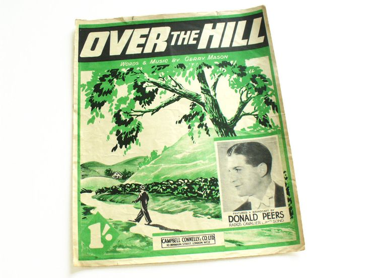 1940s sheet music with lyrics - Over the Hill broadcast by Donald Peers by RetroDelia on Etsy