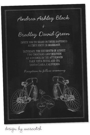 Party Simplicity Bicycle Wedding Trend - chalkboard style bicycle wedding invitations #bicycle #weddings