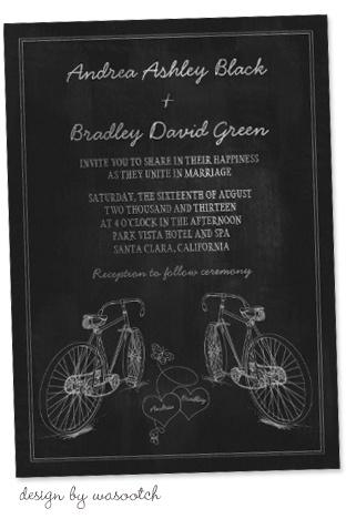 Party Simplicity Bicycle Wedding Trend - chalkboard style bicycle wedding invitations #bicycle #weddings