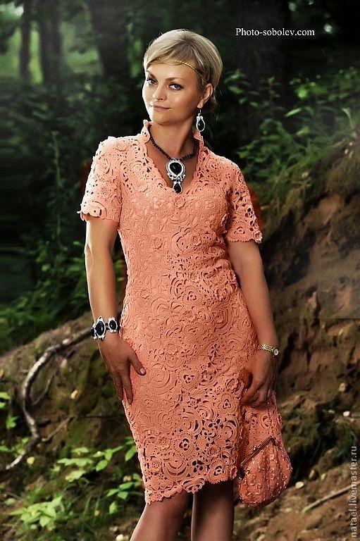 """Купить Платье """"Нимфа """" - платье, вязаное платье, платье крючком, ирландское кружево"""