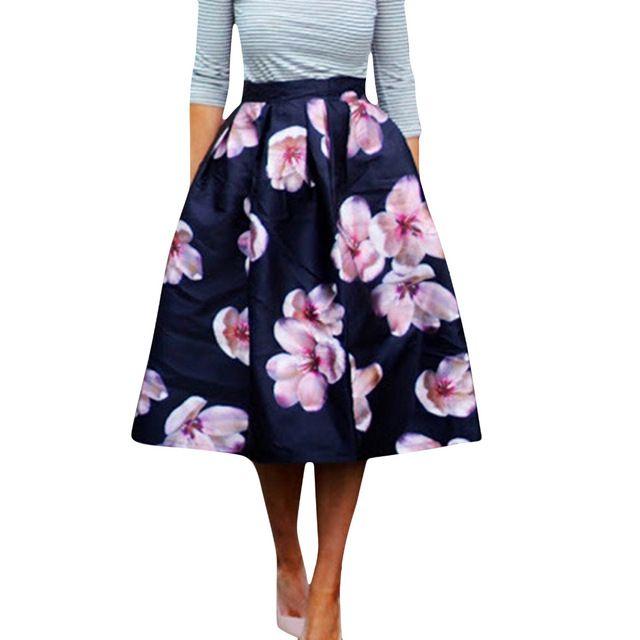Floral printed pleaded skirt...