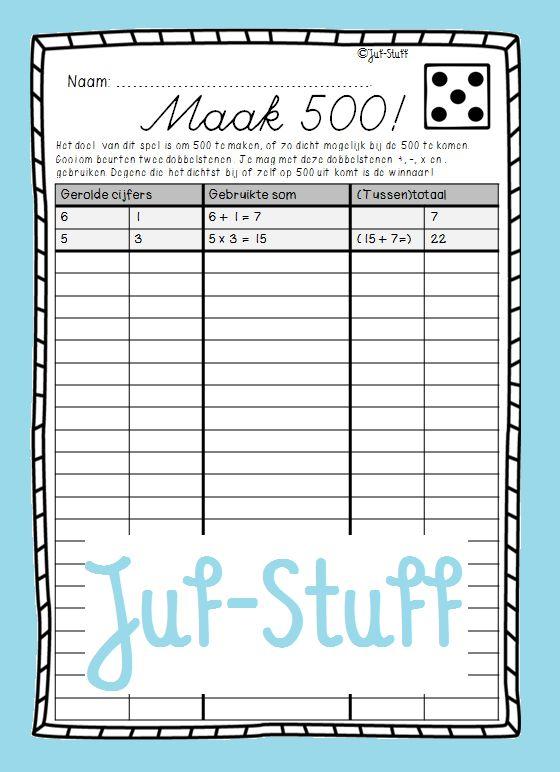 Juf-Stuff: Dobbelspel; maak 500!
