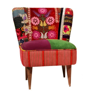 colorful and eclectic patchwork-style Lola chair by Nuloom