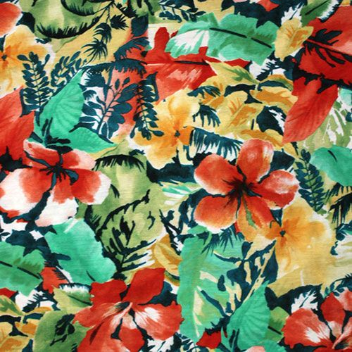 """Watercolor Tropical Floral Cotton Jersey Blend Knit Fabric - A gorgeous designer overstock score!  Unique watercolor effect tropical floral design in muted earthy greens, reds, gold on a teal blue background color cotton jersey rayon blend knit.  Fabric has a smooth and soft hand, nice stretch, fluid drape, and is light to mid weight.  Largest hibiscus flower measure 5"""" (see image for scale).  Beautiful fabric that is suitable for many different uses!  ::  $6.25"""