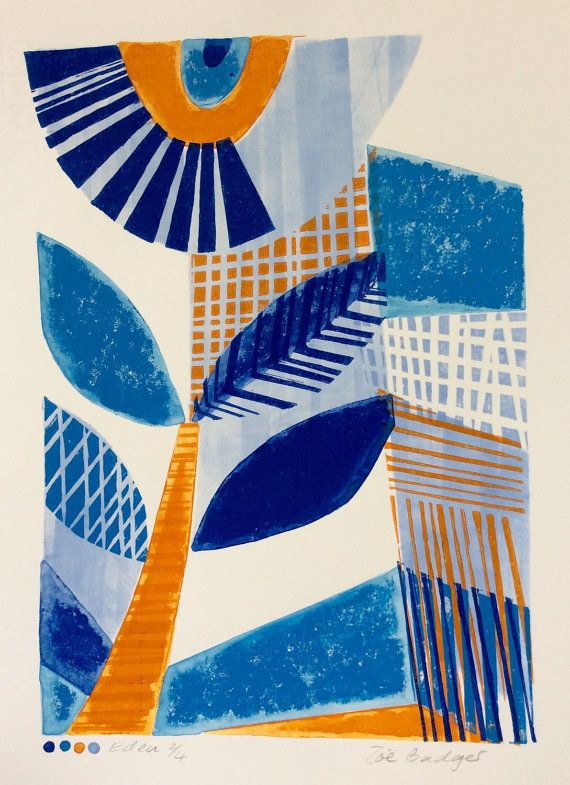 Eden Linocut and Mono Original Print by Zebedeeprint on Etsy