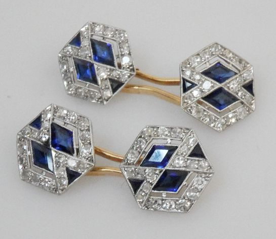 French Cufflinks Art Deco  Pair of stunning French hexagonal, platinum set cufflinks with sapphires and diamonds.  Price: £4500