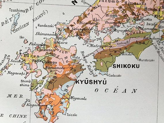 1915.JAPÓN.Mapa geológico de Japón Lámina a color.30 cm. x 24