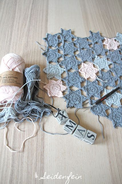 seidenfeins Blog vom schönen Landleben: Anleitung zum Sternchen häkeln - ineinander verschränkt & ohne zusammennähen ! * Tutorial for crochet star quaters without sewing !
