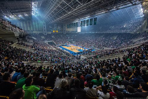 Full house with over 18,000 supporters at OAKA Athens during Panathinaikos BC Athens vs CSKA Moscow for Euroleague Top 16. OAKA Athens Olympic Sports Center - Indoor Basketball Arena.