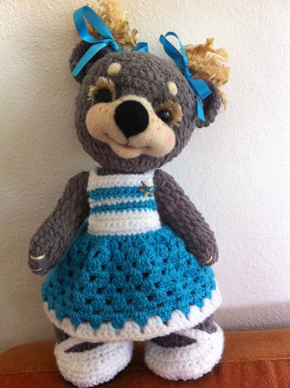 Crochet Teddy Bear : Crochet Teddy Bear Marishka. Artist Teddy Bear. by TeddyRusaLena, $85 ...