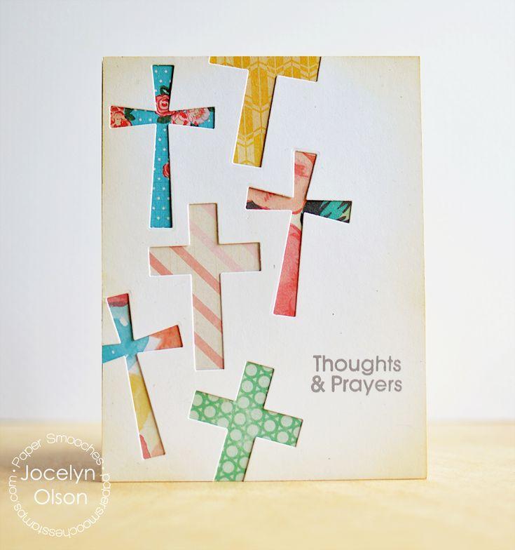 Tarjeta de invitación con cruces de scrapbook para bautizos o primeras comuniones. #FiestaDePrimeraComunion