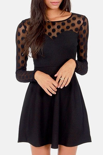 Scoop Neck See-Through Voile Splicing Dress