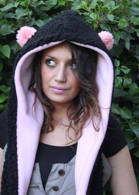 Gobbolino - etsy - pink panda hood/scarf