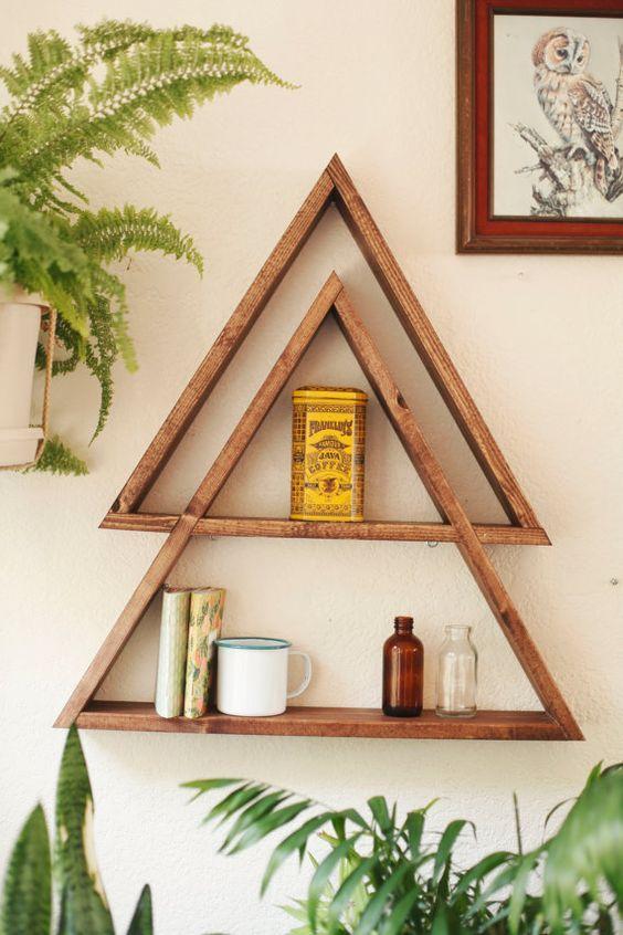 Stacked Triangle Shelf. Geometric Shelf. by DarkMarqueeDesigns