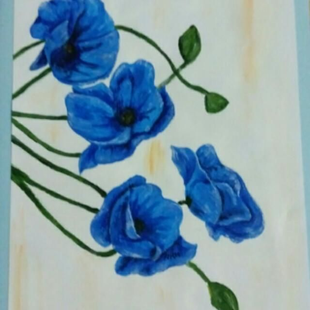 Buy Handmade Greeting Card in Ferntree Gully,Australia. 21-15cm hand painted blue poppy greeting card. Blank inside. Get great deals on Handmade Goods & Accessories Chat to Buy