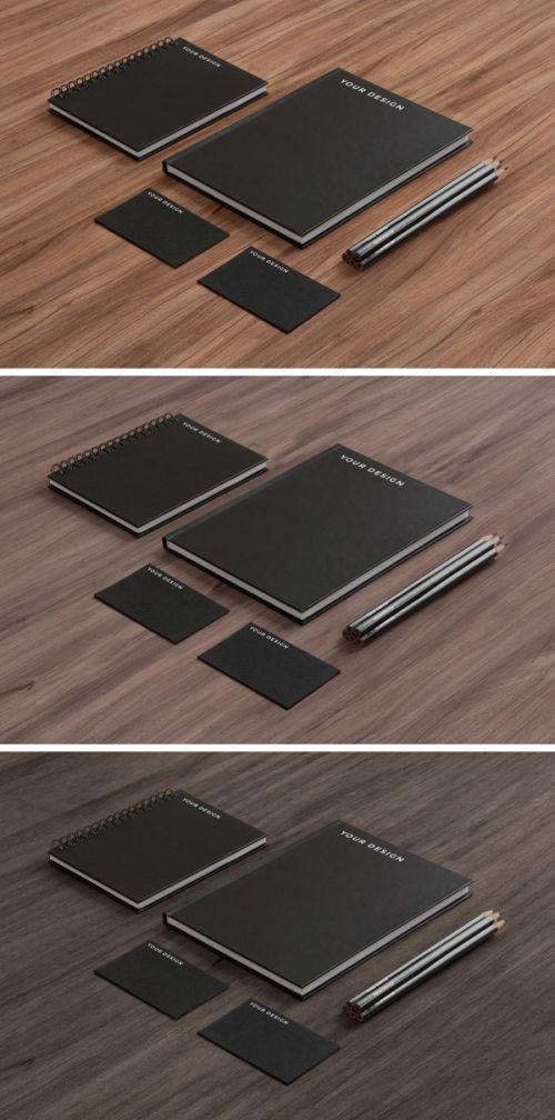 Stationery MockUp: черная бумага по дереву