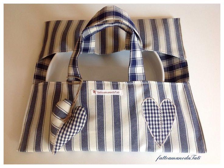Porta torte in cotone a righe e quadri blu con cuore a quadrettini, by fattoamanodaTati, 20,00 € su misshobby.com