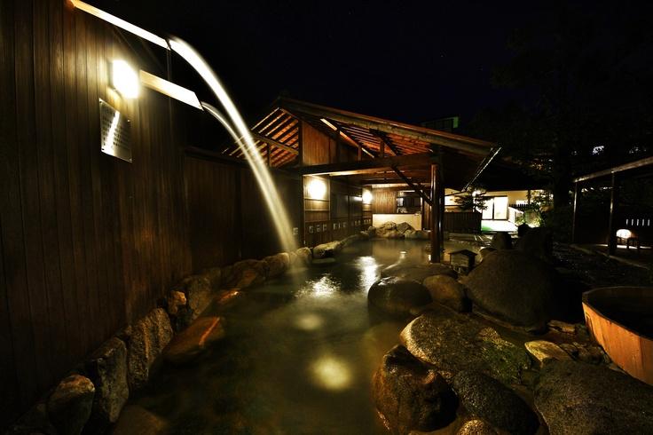 Onsen (hot spring) at Oncri with massaging waterfalls. lifestyle, ryokan, onsen, kyushu