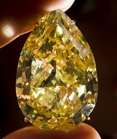 The 110.03-carat Sun-Drop Diamond  is the largest known pear-shaped fancy vivid yellow diamond in the world.
