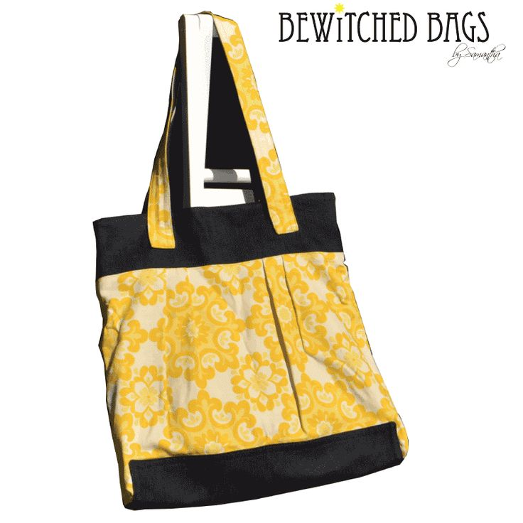 Handmade Tote Bag Yellow Cotton Print with Denim