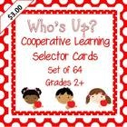 Cooperative Learning Selector Cards, set of 64 to add novelty and variety in identifying first to share in partners or whole group