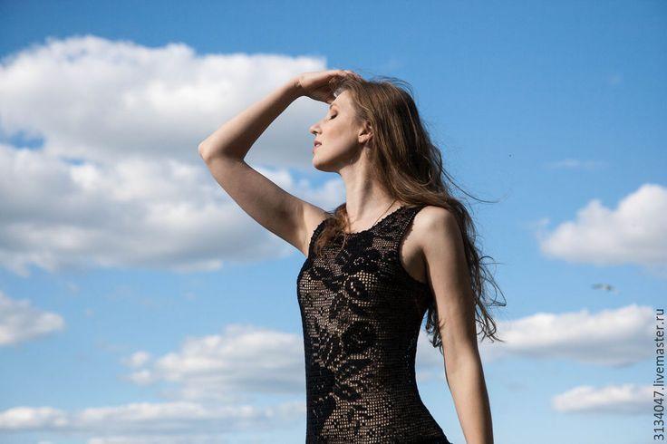 """Купить Платье """" Поцелуй"""" - черный, рисунок, рюши, Филейное кружево, филейное вязание, роза"""