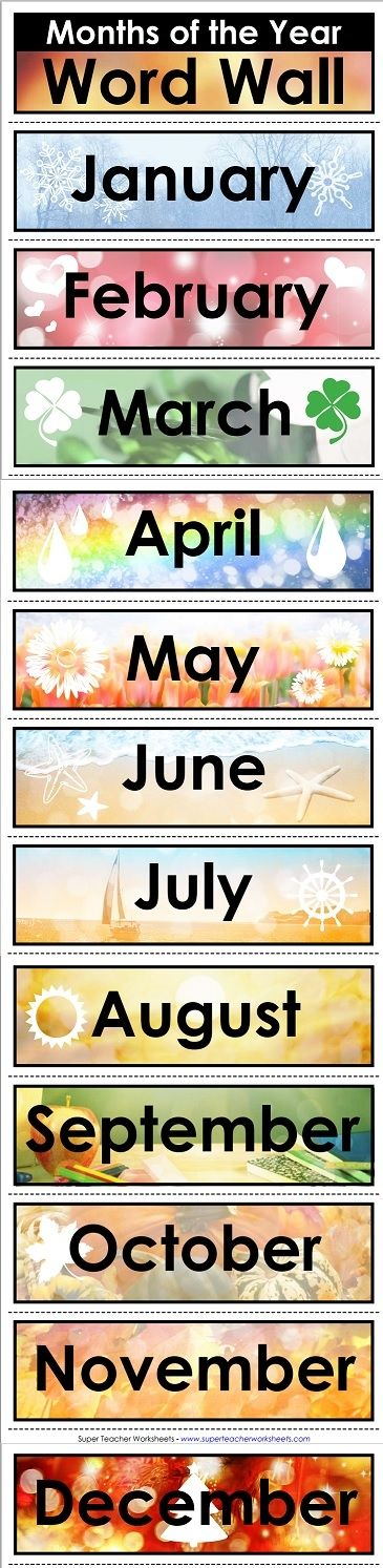 "Super Teacher Worksheets has word walls, like this ""Months of the Year"" word wall!"