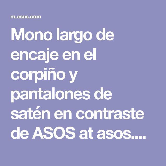 Mono largo de encaje en el corpiño y pantalones de satén en contraste de ASOS at asos.com