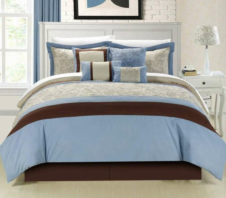 Montego Blue 8 Pc Comforter Set By Luxury Bedding Co 8 Piece Sets Polyester Luxury Home