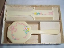 Vintage Boxed Baby Hair Brush & Comb Set Floral & White On Cream Design