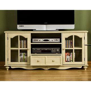 @Overstock - Medallion media center utilizes one large open adjustable shelf in the middleTV/AV stand features two drawers to fit electronics and media equipmentEntertainment center offers cabinet doors on either side housing one adjustable shelf eachhttp://www.overstock.com/Home-Garden/Medallion-Antique-White-Entertainment-Center/3017384/product.html?CID=214117 $311.41