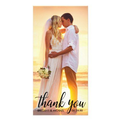 Wedding Thank You Bride Groom Photo Card Long - married gifts wedding anniversary marriage party diy cyo