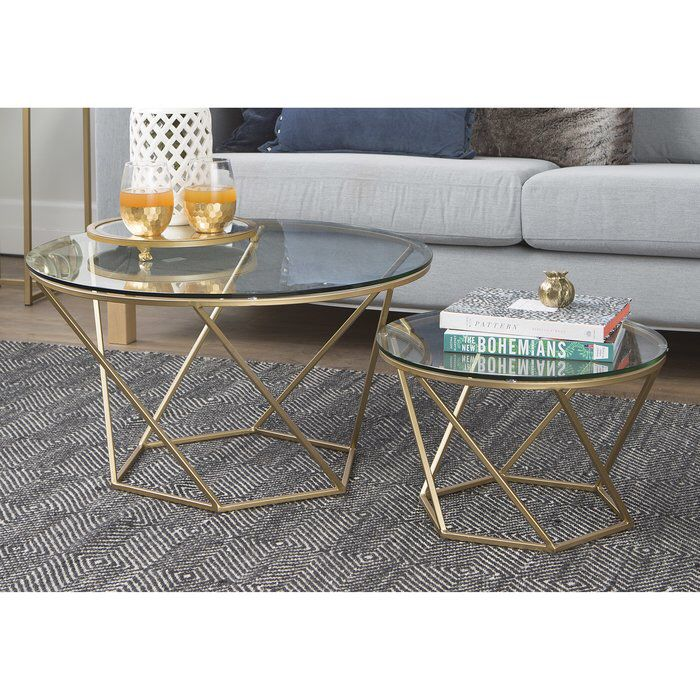 Aman 2 Piece Coffee Table Set Nesting Coffee Tables Gold Coffee