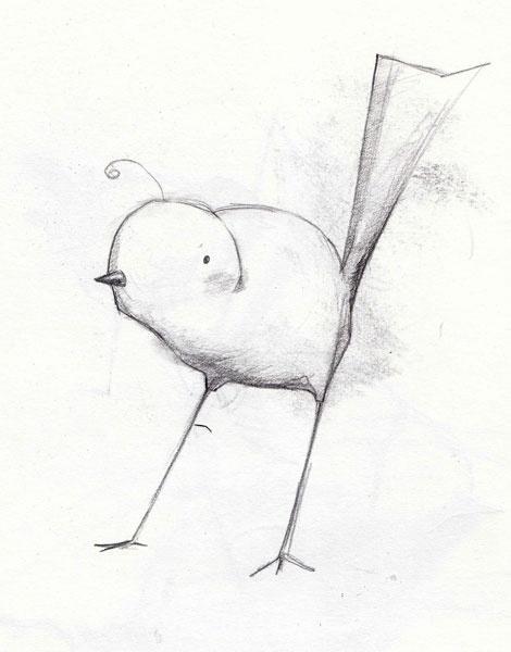 pencil bird sketch to cute