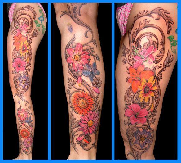 flower leg tattoo by asussman.deviantart.com on @deviantART