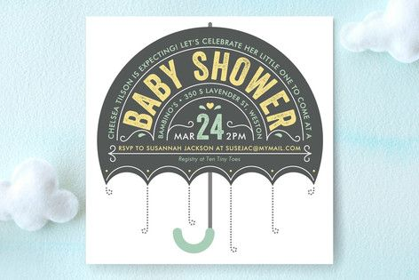 Hold an Umbrella! We're About To Have A Baby SHOWER  by Minted - Unique Holiday Cards Perfect All Events | www.minted.com