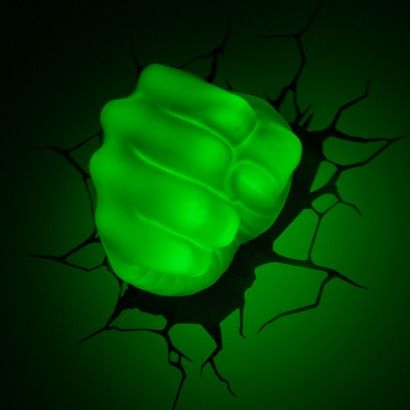 """Fun for a kids room (or even a grown man's """"man cave""""): 3D Wall Art Nightlight - Hulk Hand"""